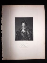 After Lawrence 1846 Portrait Print. John Philip Kemble  in the Character of Hamlet